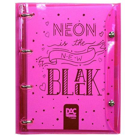 Fichário Universitário com 192 folhas Neon is the New Black Rosa 4 argolas 2396RS Dac