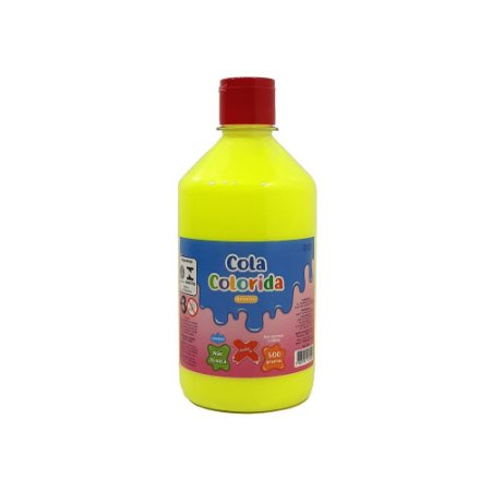 Cola Colorida Amarelo Make+ 500g Uso escolar e Slime