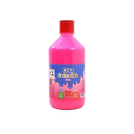 Cola Colorida Rosa Make+ 500g Uso escolar e Slime