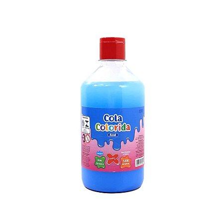 Cola Colorida Azul  Make+ 500g Uso escolar e Slime