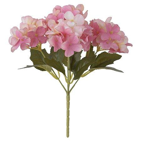 Buquê Hortênsia 29cm - Rosa Outono