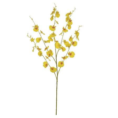 Orquídea Chuva de Ouro (Dançante) Real Toque (Haste com 5 Galhos) 89cm - Amarelo
