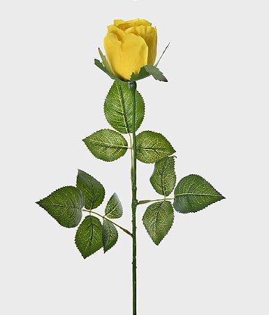 Haste Botão de Rosa Real Toque 75cm - Amarelo