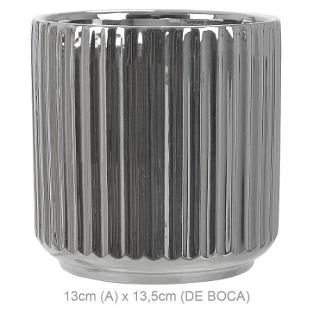 Vaso Cerâmica 13cm - Prata