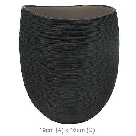 Vaso Cerâmica 19cm - Preto Cinza