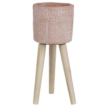 Vaso Cimento com Suporte 40cm - Terracota