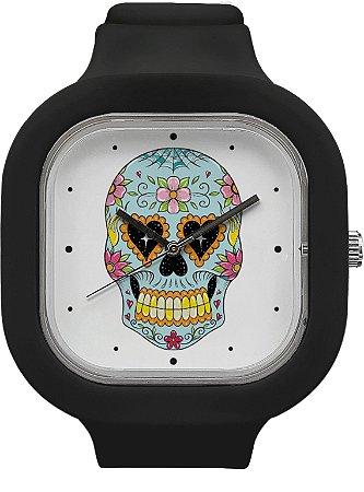 Relógio Caveira Mexicana - Preto