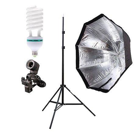 Kit de Iluminação V200 - 1 Tripé 2 m + 1 Suporte de Sombrinha E-27 + 1 Octobox 80cm + 1 Lâmpada 150W