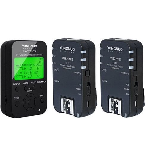 Kit com 1 Transmissor Rádio Flash Yongnuo YN-622N TX + 2 Receptores YN-622N II i-TTL (para Nikon)