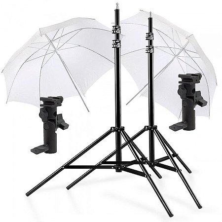 Kit de Iluminação F160 - 2 Tripés 2,5 m + 2 Suportes de Sombrinha YA-421 + 2 Sombrinhas Difusoras 101 cm