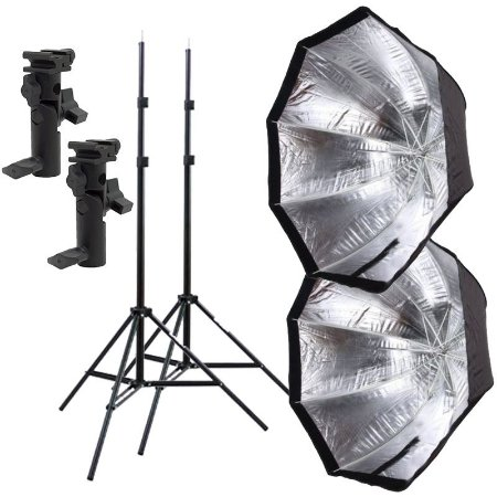 Kit de Iluminação F230 - 2 Tripés 2 m + 2 Suportes de Sombrinha YA-421 + 2 Octobox 80cm