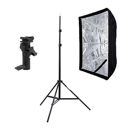 Kit de Iluminação F500 - 1 Tripé 2 m + 1 Suporte de Sombrinha YA-421 + 1 Softbox 60x90cm