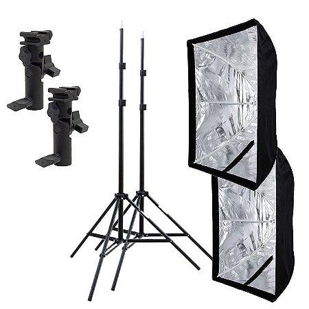 Kit de Iluminação F520 - 2 Tripés 2 m + 2 Suportes de Sombrinha YA-421 + 2 Softbox 60x90cm