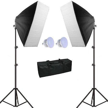 Kit de Iluminação Greika - Ágata II 100W - (2 Soft Star 40 x 60 cm + 2 Tripés de 2 Metros + 2 Lâmpadas LED 50W)