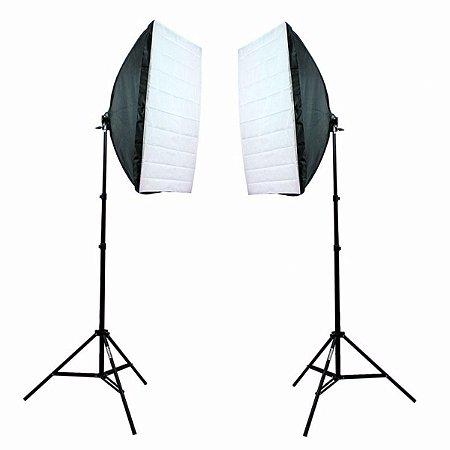 Kit de Iluminação Greika - Ágata II 100W - (2 Soft Star 50 x 70 cm + 2 Tripés de 2 Metros)