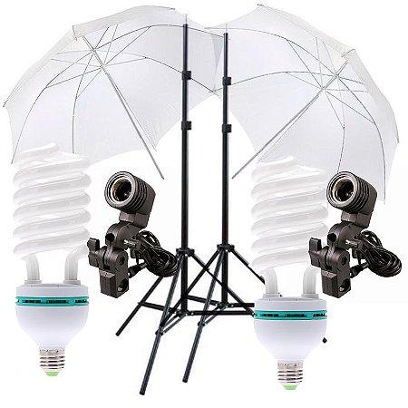 Kit de Iluminação V120 - 2 Tripés 2 m + 2 Suportes de Sombrinha E-27 + 2 Sombrinhas Difusoras 101 cm + 2 Lâmpadas 150W