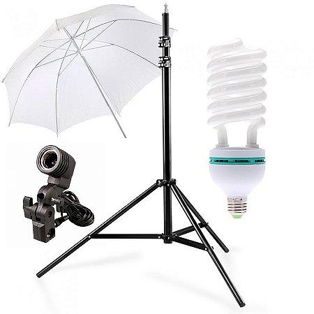 Kit de Iluminação V140 - 1 Tripé 2,5 m + 1 Suporte de Sombrinha E-27 + 1 Sombrinha Difusora 101 cm + 1 Lâmpada 150W