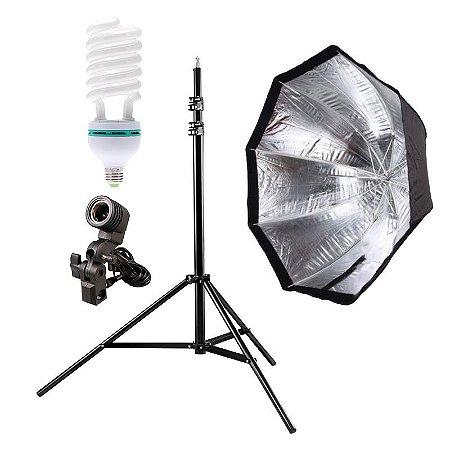Kit de Iluminação V240 - 1 Tripé 2,5 m + 1 Suporte de Sombrinha E-27 + 1 Octobox 80cm + 1 Lâmpada 150W