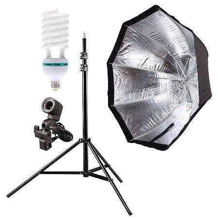 Kit de Iluminação V340 - 1 Tripé 2,5 m + 1 Suporte de Sombrinha E-27 + 1 Octobox 120cm + 1 Lâmpada 150W