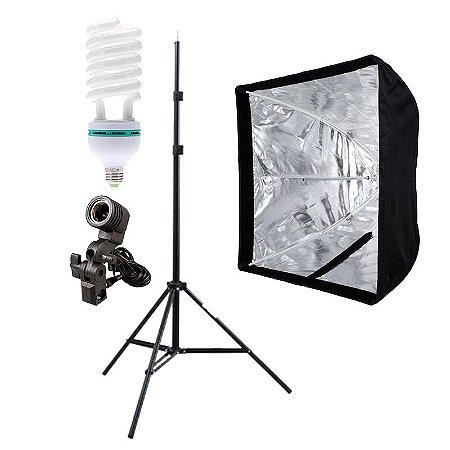 Kit de Iluminação V400 - 1 Tripé 2 m + 1 Suporte de Sombrinha E-27 + 1 Softbox 60x60cm + 1 Lâmpada 150W