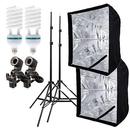 Kit de Iluminação V420 - 2 Tripés 2 m + 2 Suportes de Sombrinha E-27 + 2 Softbox 60x60cm + 2 Lâmpadas 150W