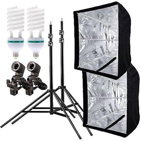Kit de Iluminação V460 - 2 Tripés 2,5 m + 2 Suportes de Sombrinha E-27 + 2 Softbox 60x60cm + 2 Lâmpadas 150W