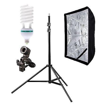 Kit de Iluminação V540 - 1 Tripé 2,5 m + 1 Suporte de Sombrinha E-27 + 1 Softbox 60x90cm + 1 Lâmpada 150W
