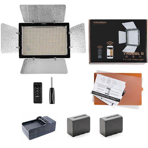 LED Yongnuo YN-600L II + 2 Baterias + Carregador + Fonte de alimentação para LED Yongnuo +Tripé de iluminação Weifeng W-803