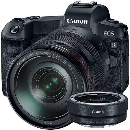Canon EOS R + Lente RF 24-105mm f/4L IS USM + Adaptador para Lentes EF e EF-S