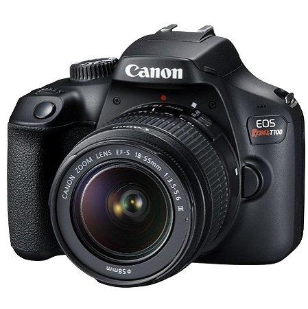 Canon EOS Rebel T100 (4000D) + Lente EF-S 18-55mm f/3.5-5.6 III