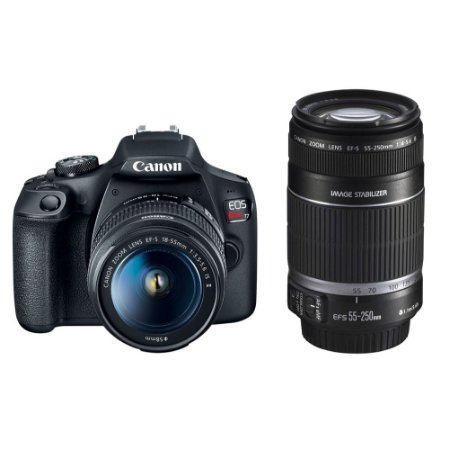 Canon EOS Rebel T7 (1500D/2000D) Kit Premium (Lente 18-55mm f/3.5-5.6 IS II e 55-250mm f/4-5.6 IS II)