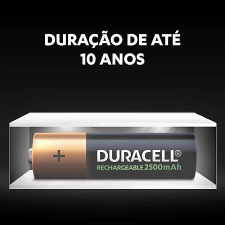 Pilhas Duracell 2500mAh AA Recarregáveis (kit com 2 unidades)