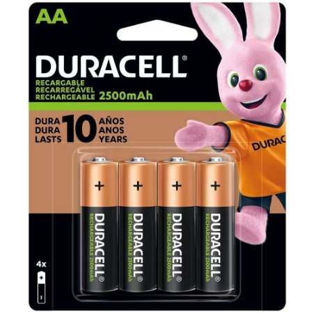 Pilhas Duracell 2500mAh AA Recarregáveis (kit com 4 unidades)