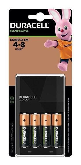 Pilhas Duracell 2500mAh AA Recarregáveis (kit com 4 unidades) + carregador