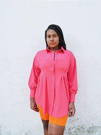 Camisa com pregas rosa