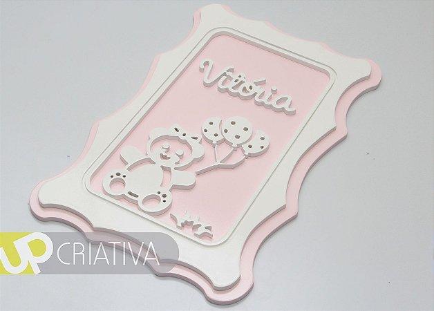 Quadro porta maternidade e quarto de bebê urso balão com nome personalizado
