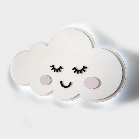 Luminária Nuvem Com Rosto e Bochecha Chuva De Amor Em Mdf Com Led Para Decoração Quarto De Bebê