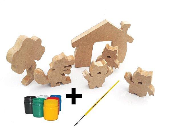 Brinquedo em Madeira Para Colorir Lobo Mau e os 3 Porquinhos