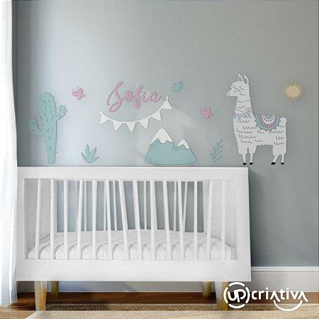 Painel para quarto de bebê tema lhama