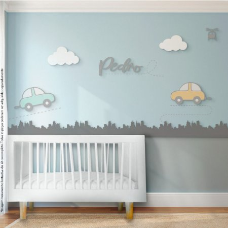 Painel decorativo para quarto de bebê - Tema Carrinho / Cidade