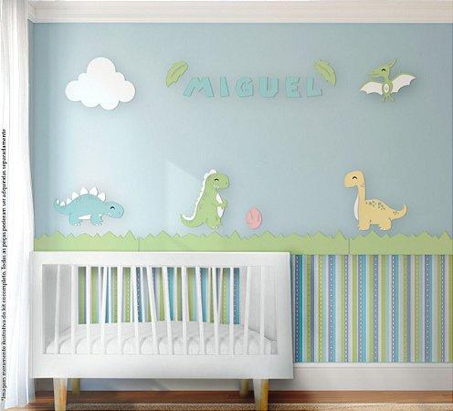 Painel decorativo para quarto de bebê - Tema Dinossauros Fofos