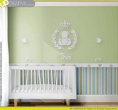 Painel decorativo para quarto de bebê - Tema Urso Príncipe MDF
