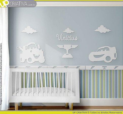 Painel decorativo para quarto de bebê - Tema Carros MDF