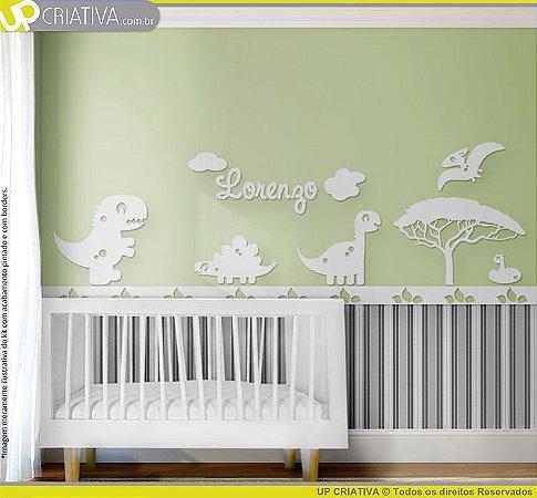 Painel decorativo para quarto de bebê - Tema Dinossauros MDF