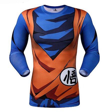 cbdbea215 Camiseta Manga Longa Goku - Dragon Ball Z - Herói Mania  A Melhor ...