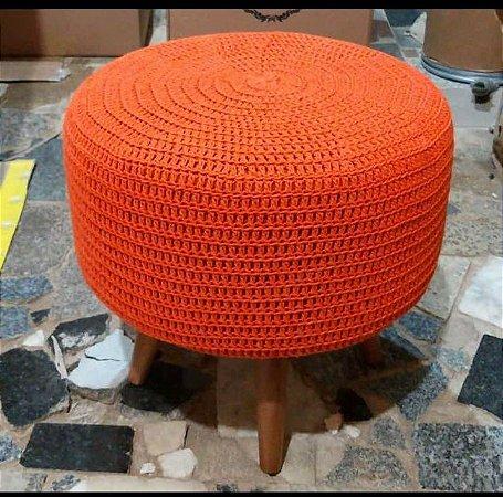 Puff Decorativo Crochê laranja