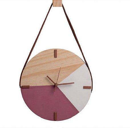Relógio Escandinavo Adnet Rosa e branco Alça + Pendurador
