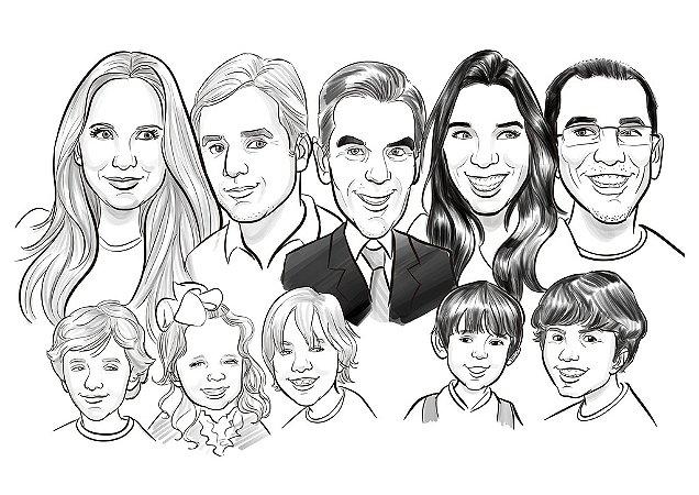 Caricatura Família 10 Pessoas