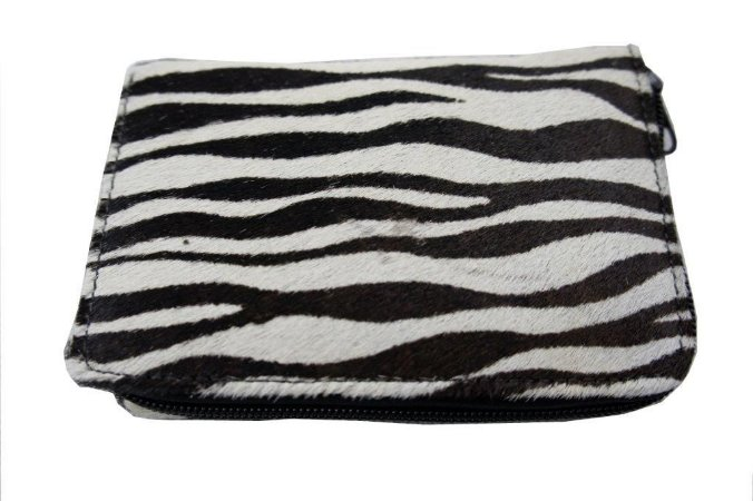 Carteira Feminina com Zíper Estampa Animal Print Zebra Branca