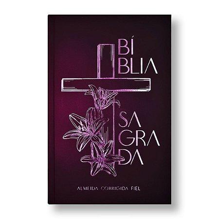 BÍBLIA ACF LEITURA PERFEITA CAPA DURA LETRA NORMAL CRUZ FLORAL